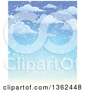 Clipart Of A Background Of Snow Falling From Clouds Over Blue Sky Royalty Free Vector Illustration