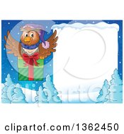 Clipart Of A Cartoon Christmas Owl Flying A Gift Over Snow Covered Evergreens And A Blank Sign Royalty Free Vector Illustration