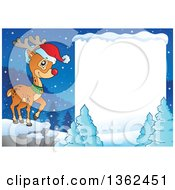 Christmas Rudolph Reindeer On A Cliff Over A Winter Landscape And Blank Sign