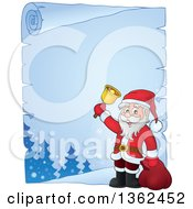 Clipart Of A Christmas Santa Claus Ringing A Bell Over A Frozen Parchment Scroll Page With Text Space Royalty Free Vector Illustration