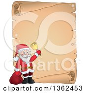 Clipart Of A Christmas Santa Claus Ringing A Bell Over A Parchment Scroll Page With Text Space Royalty Free Vector Illustration