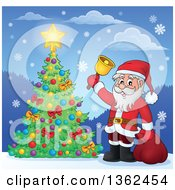 Clipart Of A Christmas Santa Claus Ringing A Bell By A Tree In The Snow Royalty Free Vector Illustration