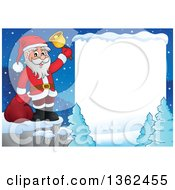 Clipart Of A Christmas Santa Claus Ringing A Bell On A Cliff In A Winter Landscape With White Text Space Royalty Free Vector Illustration