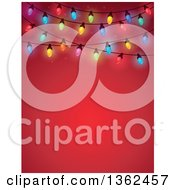 Clipart Of A Colorful Christmas Lights Over Red With Text Space Royalty Free Vector Illustration