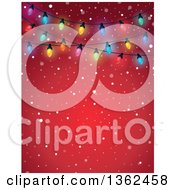 Clipart Of A Background Of Colorful Christmas Lights Over Red With Snow And Text Space Royalty Free Vector Illustration
