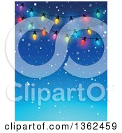 Clipart Of A Background Of Colorful Christmas Lights Over Blue With Snow And Text Space Royalty Free Vector Illustration by visekart