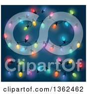 Clipart Of Colorful Christmas Lights Over Blue Royalty Free Vector Illustration