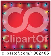 Clipart Of A Border Of Colorful Christmas Lights Over Red With Text Space Royalty Free Vector Illustration
