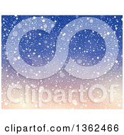 Background Of Snow Falling Over Gradient Blue And Pink Sky