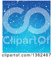 Clipart Of A Background Of Snow Falling Over Blue Sky Royalty Free Vector Illustration by visekart