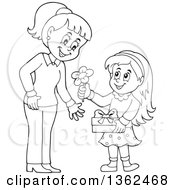 Clipart Of A Cartoon Black And White Thoughtful Girl Giving Her Mom A Flower On Mothers Day Royalty Free Vector Illustration by visekart