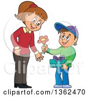 Clipart Of A Cartoon Thoughtful Caucasian Boy Giving His Mom A Flower On Mothers Day Royalty Free Vector Illustration