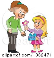 Cartoon Thoughtful Blond Caucasian Girl Giving Her Mom A Flower On Mothers Day