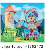 Clipart Of A Cartoon Happy Knight Boy On A Horse Near A Princess Rapunzel In A Tower Royalty Free Vector Illustration