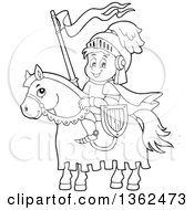 Clipart Of A Cartoon Black And White Happy Knight Boy On A Horse Royalty Free Vector Illustration by visekart