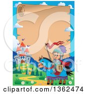 Clipart Of A Cartoon Happy Knight Boy On A Horse Near A Castle With A Parchment Scroll In The Background Royalty Free Vector Illustration by visekart