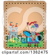 Clipart Of A Parchment Paper Border Of A Knight Boy On A Horse Near A Castle Royalty Free Vector Illustration by visekart