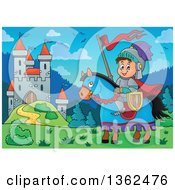 Clipart Of A Cartoon Happy Knight Boy On A Horse With A Castle In The Background Royalty Free Vector Illustration
