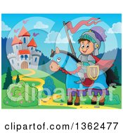 Clipart Of A Cartoon Happy Knight Boy On A Horse Near A Castle Royalty Free Vector Illustration
