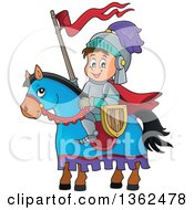 Clipart Of A Cartoon Happy Knight Boy On A Horse Royalty Free Vector Illustration by visekart