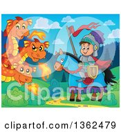 Clipart Of A Cartoon Happy Knight Boy On A Horse Near A Three Headed Fire Breathing Dragon Royalty Free Vector Illustration by visekart