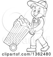 Clipart Of A Cartoon Black And White Garbage Man Pushing A Rolling Trash Bin Royalty Free Vector Illustration by visekart