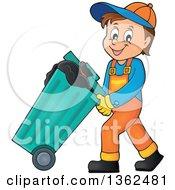 Cartoon Caucasian Garbage Man Pushing A Rolling Trash Bin