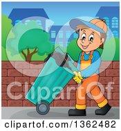 Clipart Of A Cartoon Caucasian Garbage Man Pushing A Rolling Trash Bin On A Sidewalk Royalty Free Vector Illustration by visekart