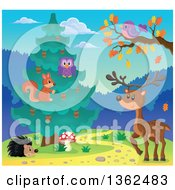 Clipart Of A Squirrel And Owl In An Evergreen Tree With A Deer Purple Bird And Hedgehog Royalty Free Vector Illustration