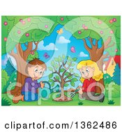 Clipart Of A Cartoon Caucasian Boy And Girl Planting A Tree Together With Butterflies Flying Over Them Royalty Free Vector Illustration
