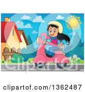 Clipart Of A Cartoon Happy Girl Riding A Pink Scooter Down A Street Royalty Free Vector Illustration by visekart
