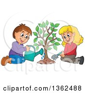 Clipart Of A Caucasian Boy And Girl Planting A Tree Together Royalty Free Vector Illustration