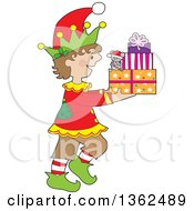 Clipart Of A Cartoon Happy Christmas Elf Walking To The Right And Carrying A Mouse And Presents Royalty Free Vector Illustration