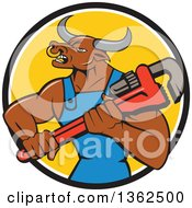 Cartoon Bull Man Plumber Mascot Holding A Monkey Wrench In A Black White And Yellow Circle