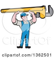Clipart Of A Retro Cartoon White Male Plumber Holding Up A Giant Monkey Wrench Royalty Free Vector Illustration