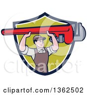 Clipart Of A Retro Cartoon White Male Plumber Holding Up A Giant Monkey Wrench In A Navy Blue White And Green Shield Royalty Free Vector Illustration