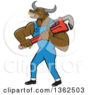 Clipart Of A Cartoon Bull Man Plumber Mascot Holding A Monkey Wrench Royalty Free Vector Illustration