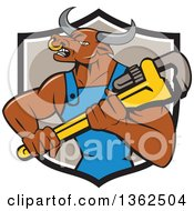 Clipart Of A Cartoon Bull Man Plumber Mascot Holding A Monkey Wrench In A Black White And Taupe Shield Royalty Free Vector Illustration