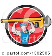 Clipart Of A Retro Cartoon White Male Plumber Holding Up A Giant Monkey Wrench In A Black White And Red Circle Royalty Free Vector Illustration