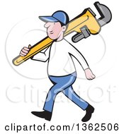 Clipart Of A Cartoon White Male Plumber Holding A Giant Monkey Wrench Over His Shoulder Royalty Free Vector Illustration