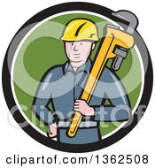 Clipart Of A Cartoon White Male Plumber Holding A Giant Monkey Wrench In A Black White And Green Circle Royalty Free Vector Illustration