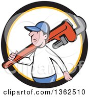 Clipart Of A Cartoon White Male Plumber Holding A Giant Monkey Wrench Over His Shoulder In A Black Yellow And White Circle Royalty Free Vector Illustration