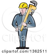Clipart Of A Cartoon White Male Plumber Holding A Giant Monkey Wrench Royalty Free Vector Illustration