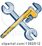 Clipart Of Retro Crossed Spanner And Monkey Wrenches Royalty Free Vector Illustration