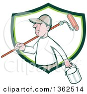 Poster, Art Print Of Retro Cartoon White Male Painter Carrying A Can And A Roller Brush Over His Shoulder Emerging From A Green And White Shield