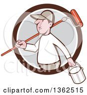 Clipart Of A Retro Cartoon White Male Painter Carrying A Can And A Roller Brush Over His Shoulder Emerging From A Brown White And Gray Circle Royalty Free Vector Illustration