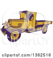 Clipart Of A Retro Woodcut Purple And Yellow 1920s Pickup Truck With A Flatbed Royalty Free Vector Illustration