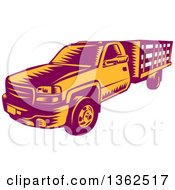 Retro Woodcut Maroon And Orange Pickup Truck