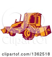 Clipart Of A Retro Woodcut Maroon And Orange Excavator Machine Royalty Free Vector Illustration