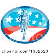 Clipart Of A Retro Woodcut Male Marathon Runner In An American Oval Royalty Free Vector Illustration